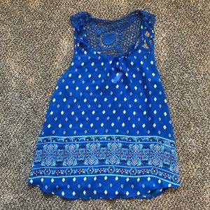 Blue patterned crochet back tank